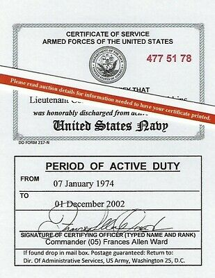 United States Navy or Reserve Honorable Discharge Laminated Card 2 1/8 X 3 3/8