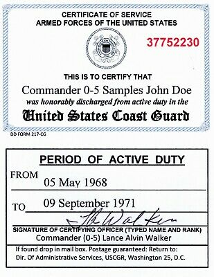 Coast Guard and USCG Reserve Honorable Discharge Laminated Card 2 1/8 X 3 3/8