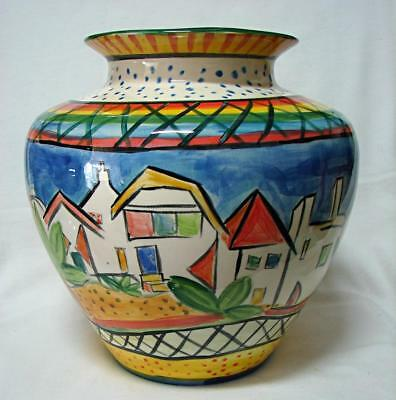 Australian pottery Large Vase Handpainted by CORSO DEL OZ 25 cm
