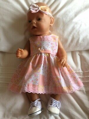 "Doll Clothes to fit 17"" Baby Born doll ~ Dress & hband  ~ Peach Patchwork"