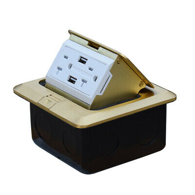 Pop Up Floor Outlet Box with 20Amp and 2 USB Chargers Stainless Steel Recaptacle