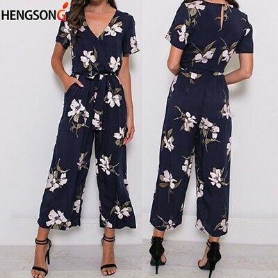 Ladies Tops Trousers Jumpsuit Summer Printed Short Sleeve Playsuit C