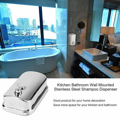 500/800/1000ML Kitchen Bathroom Wall Mounted Stainless Steel Shampoo Dispenser R