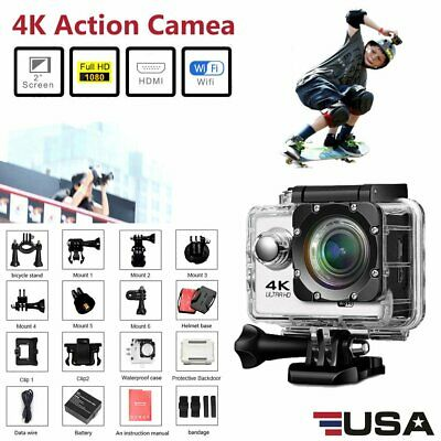 Ultra HD 4K Wifi Sport Camera Action Camcorder Waterpoof 40M 170° For Gopro 16MP