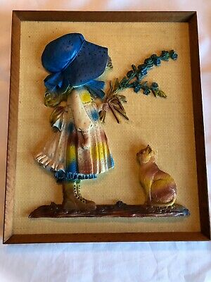 Vintage Holly Hobbie Large Plastic 3D Picture Wooden Frame Rare!!