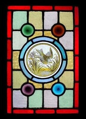 Stunning Rare Victorian Painted Bird Antique English Stained Glass Window