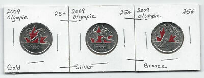 Canada 2009 25 Cents Coloured Olympic 3 coin Set