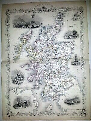 Rare Original Tallis Map, Scotland, Europe, 1850S