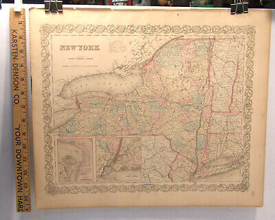 Antique Hand Colored Engraving Map New York State 1859 Colton's General Atlas