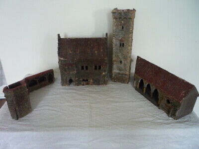 ANTIQUE 19th C FOLK ART MODELS ABBEY TOWER BARNS WOOD AND GESSO 5 PIECES
