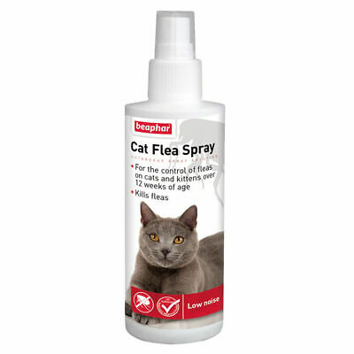 *New* Beaphar 150 Ml Cat Kitten Flea Spray Pump Action Low Noise Kills Fleas