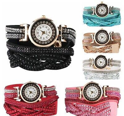 Fashion Women Quartz Bracelet Watch Button Leather Strap Alloy Dial Wristwatch
