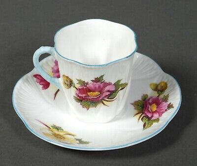 Vintage Shelley England Bone China Begonia Floral Cup & Saucer with Blue Trim