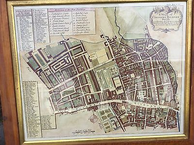 A Mapp Of St Andrews Holborn Parish Hand Coloured  Antique Street Map