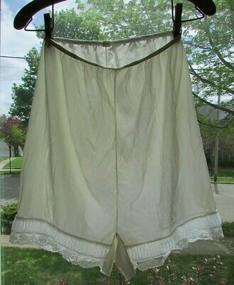 Vtg White Nylon Gatsby Double Gusset High Waist PettiPants Knickers Tap Panties