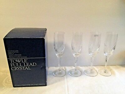 Vintage TOWLE Fluted Champagne Glasses 4 ~ Majesty ~ No Cut Foot ~ Lead Crystal