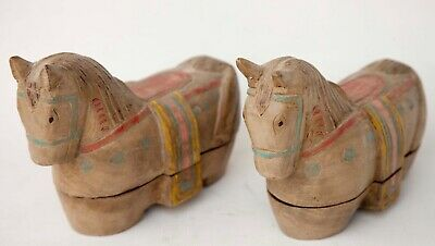 Pair (2) of Horse *Wood Jewelry Box* Trinket Hand Carved Painted Asian