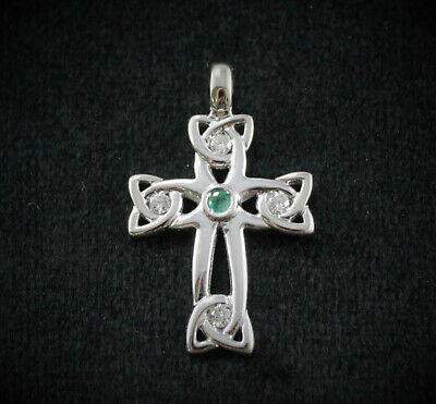 14K White Gold Celtic Cross with Diamonds and Emerald
