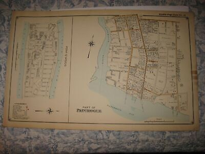 Antique 1915 Point O' Woods Fire Island Patchogue Suffolk County New York Map Nr