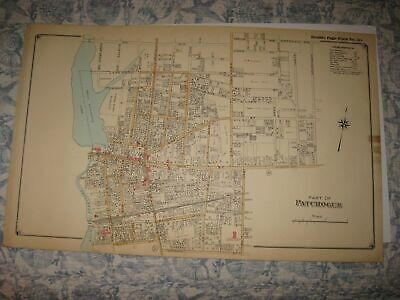 Antique 1915 Patchogue Suffolk County New York Handcolored Map Superb Rare Fine
