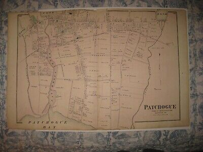 Large Superb Antique 1873 Patchogue Long Island New York Handcolored Map Rare Nr