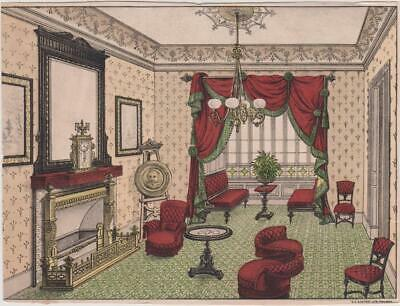 Great Image Victorian Parlor Furniture Fancy Curtain Fireplace Large Trade Card