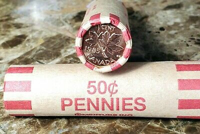 Canada 1985 BU UNC Red Brilliant Uncirculated Roll of Pennies!!