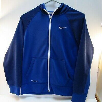 7d21e30827 Nike Boys Large Blue Therma-Fit Fleece Athletic Hoodie Jacket Sweatshirt  Youth
