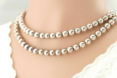 """Vtg Sterling Silver LONG 30"""" HEAVY 3oz Ball Bead Necklace Italy"""