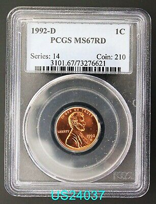 1992-D Lincoln Cent PCGS MS-67 RED free shipping in United States