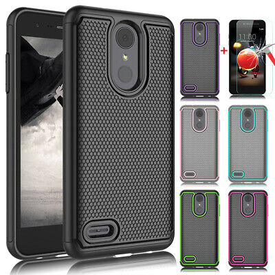 For LG Phoenix 4/Rebel 3 4/Fortune 2/Zone 4 Case Cover + Glass Screen Protector