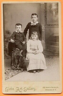 Syracuse, NY, Portrait of 3 Siblings, by Globe Art Gallery, ca 1890s Backstamp