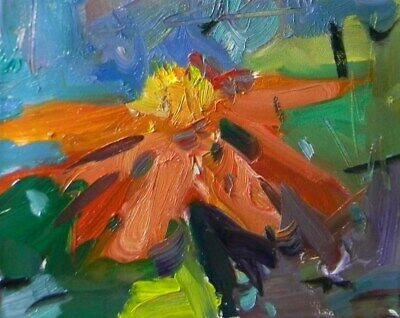 Jose Trujillo 8X10 Flower Floral Impressionism Original Modern Abstract Painting