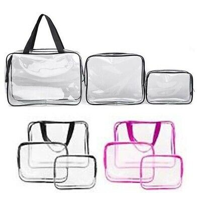 3Pcs Cosmetic Makeup Toiletry Clear PVC Travel Wash Bag Holder Pouch Make up Bag