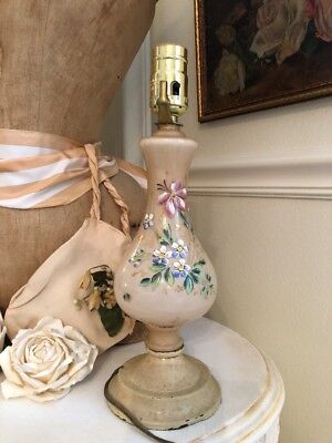 Antique Blush Pink Glass Hand Painted Floral Boudoir Lamp So Sweet