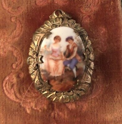 Vintage Sweet Antique Locket Hand Painted Adorable Scene