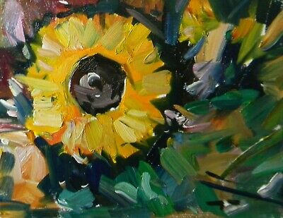 JOSE TRUJILLO OIL PAINTING Sunflower Garden Floral IMPRESSIONISM Collectible NR