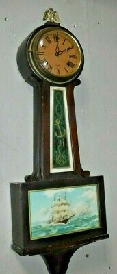 New Haven Whitney 8 Day Antique Banjo Wall Clock Clean Working