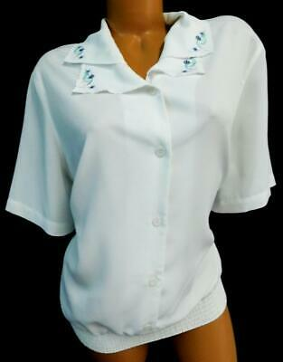 f86a937d Alfred dunner white plus floral embroidered elastic waist button down top  16W