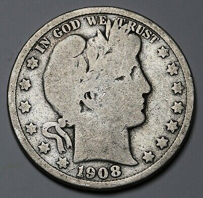 1908 S  US Barber Half Dollar 90% Silver Coin KM# 116
