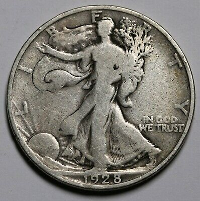 1928 S US Walking Liberty Half Dollar 90% Silver Coin KM# 142