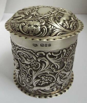 Stunning Large Decorative English Antique 1920 Sterling Silver Tea Canister Box