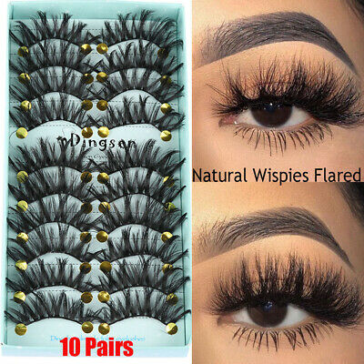 SKONHED 10 Pairs*3D Soft Faux Mink Hair Natural Long Wispies Fluffy Eyelashes