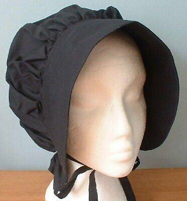 Ladies Victorian or American Civil War plain black cotton bonnet
