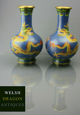 Museum High Quality 19Th C Chinese Guangxu Period Cloisonne Dragon Pearl Vases