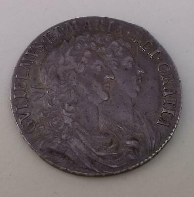 1689 William and Mary Silver Half Crown Coin Dark Toned High Grade