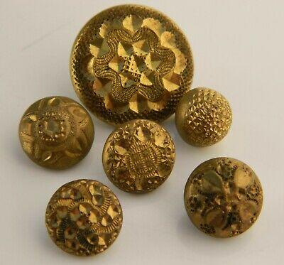Lot of Vintage ANTIQUE Victorian Gilt BRASS hand tooled Buttons