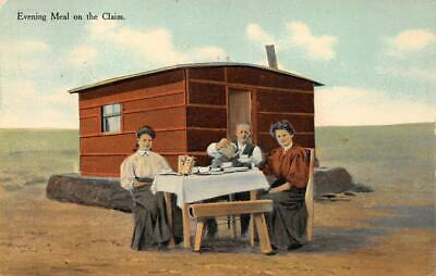 EVENING MEAL ON THE CLAIM WESTERN LAND POSTCARD (c. 1910)