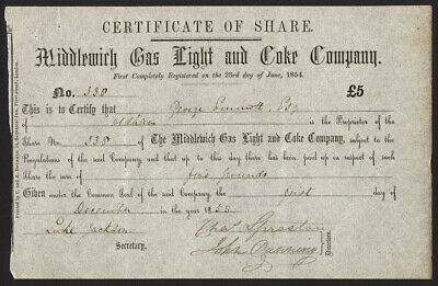 Middlewich Gas Light and Coke Company, Cheshire, £5 share, 1855, GVF