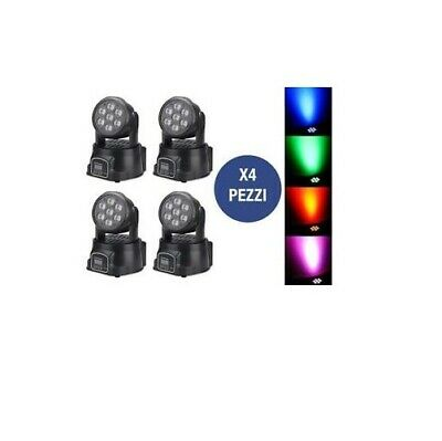 Kit 4 X Testa Mobile 7 Led Rotante Effetti Disco Wash Dmx Proiettore Led Rgb